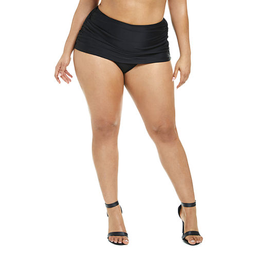Fashion To Figure Antigua Ruched Swim Bottom-Plus