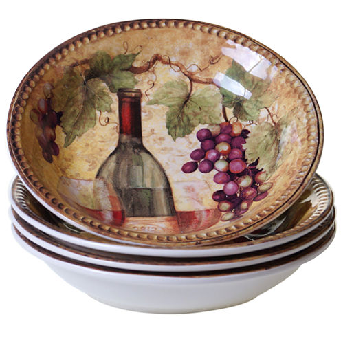 Certified International Gilded Wine 4-pc. Soup Bowl
