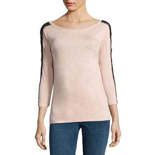 Buffalo Jeans 3/4 Lace Sleeve Knit Top