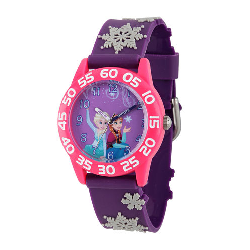 Disney Girls Frozen Elsa And Anna Purple Snowflake Time Teacher Strap Watches