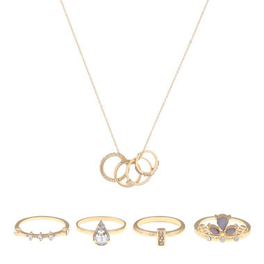 jcpenney.com | Decree® 5-pc. Gold-Tone Necklace and Ring Set