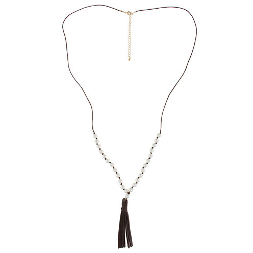Decree® Simulated Pearl Gold-Tone Leather Tassel Necklace