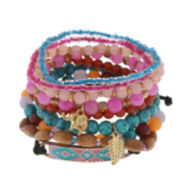 Decree® Multicolor Bead Silver-Tone Stretch Bracelet