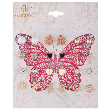 jcpenney.com | Decree® Butterfly 12-pr. Gold-Tone Earring Set