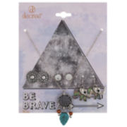 Decree® Be Brave Silver-Tone Necklace & Earring Set