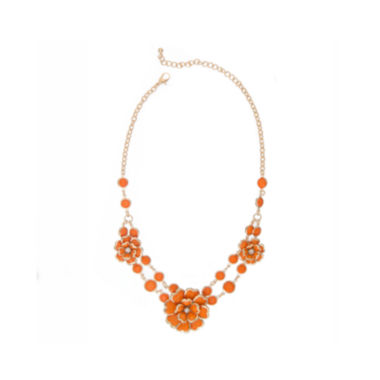 jcpenney.com | Mixit™ Orange and Gold-Tone Flower Necklace