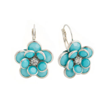 jcpenney.com | Mixit™ Blue Silver-Tone Flower Earrings