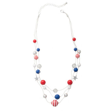 jcpenney.com | Mixit™ Red, White and Blue Bead Illusion Necklace