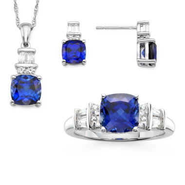 jcpenney.com | Lab Created Blue And White Sapphire Sterling Silver Ring , Pendant, And Earring