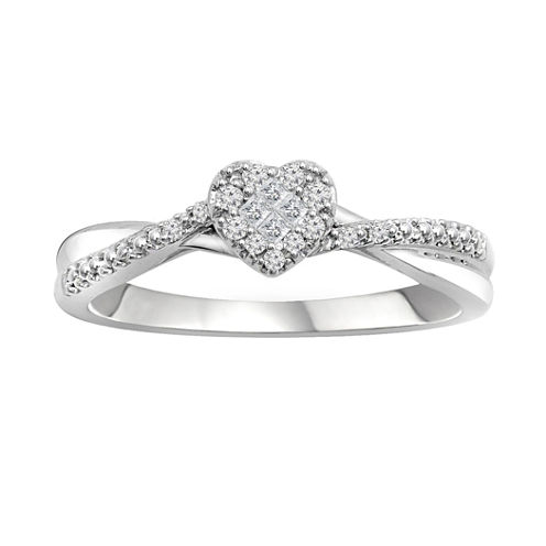 1/8 CT. T.W. Diamond 10K White Gold Promise Ring