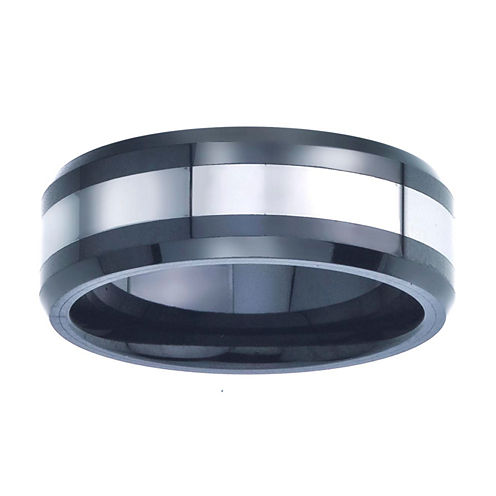 Mens 8mm Tungsten Carbide & Black Ceramic Wedding Band