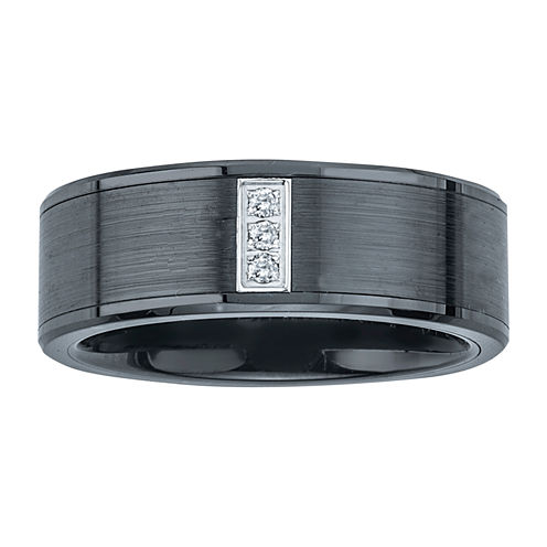 Mens Diamond Accent Black Stainless Steel & Ceramic 3-stone Wedding Band