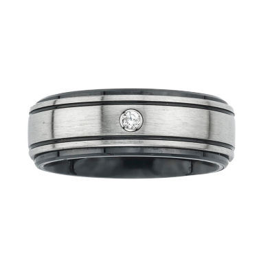 jcpenney.com | Mens Diamond Accent Stainless Steel & Ceramic Wedding Band