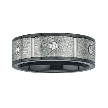 jcpenney.com | Mens 8mm 1/5 CT. T.W. Diamond Stainless Steel & Ceramic Wedding Band