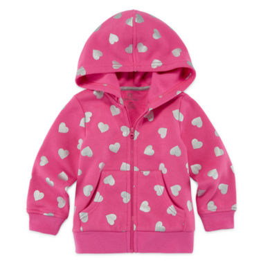 jcpenney.com | Okie Dokie® Black Allover Dot Fleece Hoodie - Baby Girls newborn-24m