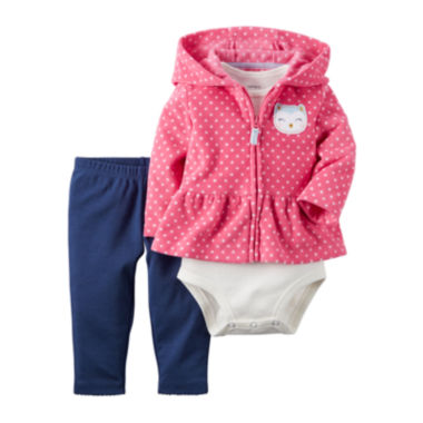 jcpenney.com | Carter's® 3-pc. Bodysuit, Cardigan & Pants Set - Baby Girls newborn-24m