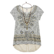 Beautees Short-Sleeve Hi-Lo Top with Necklace - Girls 7-16