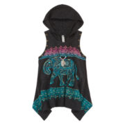 Beautees Sleeveless Graphic Hoodie with Necklace - Girls 7-16