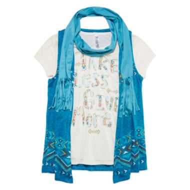 jcpenney.com | Beautees Short-Sleeve Screen Print Tee with Print Vest and Faux Suede Scarf - Girls 7-16