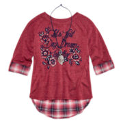Beautees 3/4-Sleeve High-Low Graphic Top with Plaid Back Inset and Necklace - Girls 7-16