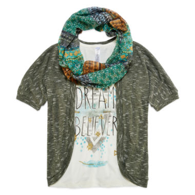 jcpenney.com | Beautees Elbow-Sleeve Cozy with Screen Print Tank Top and Scarf - Girls 7-16