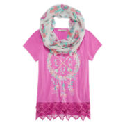 Self Esteem® Short-Sleeve Top with Crochet Trim and Scarf - Girls 7-16