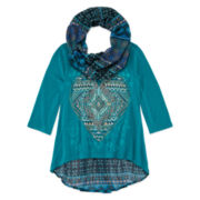 Knit Works® 3/4-Sleeve Hi-Lo Top with Printed Scarf - Girls 7-16 and Plus