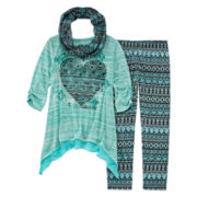 Knit Works® 3-pc. 3/4-Sleeve Tunic, Leggings and Scarf Set - Girls 7-16