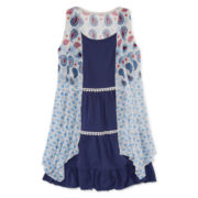 Arizona Festival Paisley Tiered Ruffle Dress with Snit Vest - Girls 7-16