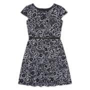 Total Girl® Cap-Sleeve Floral Textured Skater Dress - Girls 7-16