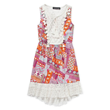 jcpenney.com | Trixxi® Sleeveless Patchwork Lace-Trim High-Low-Hem Dress - Girls 7-16