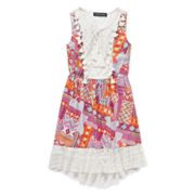 Trixxi® Sleeveless Patchwork Lace-Trim High-Low-Hem Dress - Girls 7-16