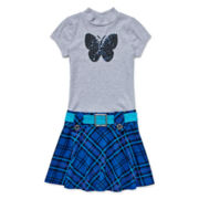 Lilt Short-Sleeve Plaid Marsha Sequin Butterfly Dress - Girls 7-16