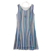 Trixxi® Multi Chevron Lace A-Line Dress with Necklace - Girls 7-16