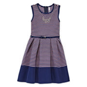 Knit Works® Sleeveless Stripe Belted Skater Dress - Girls 7-16