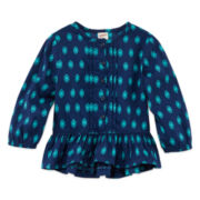 Arizona Long-Sleeve Woven Peplum Top - Baby Girls 3m-24m