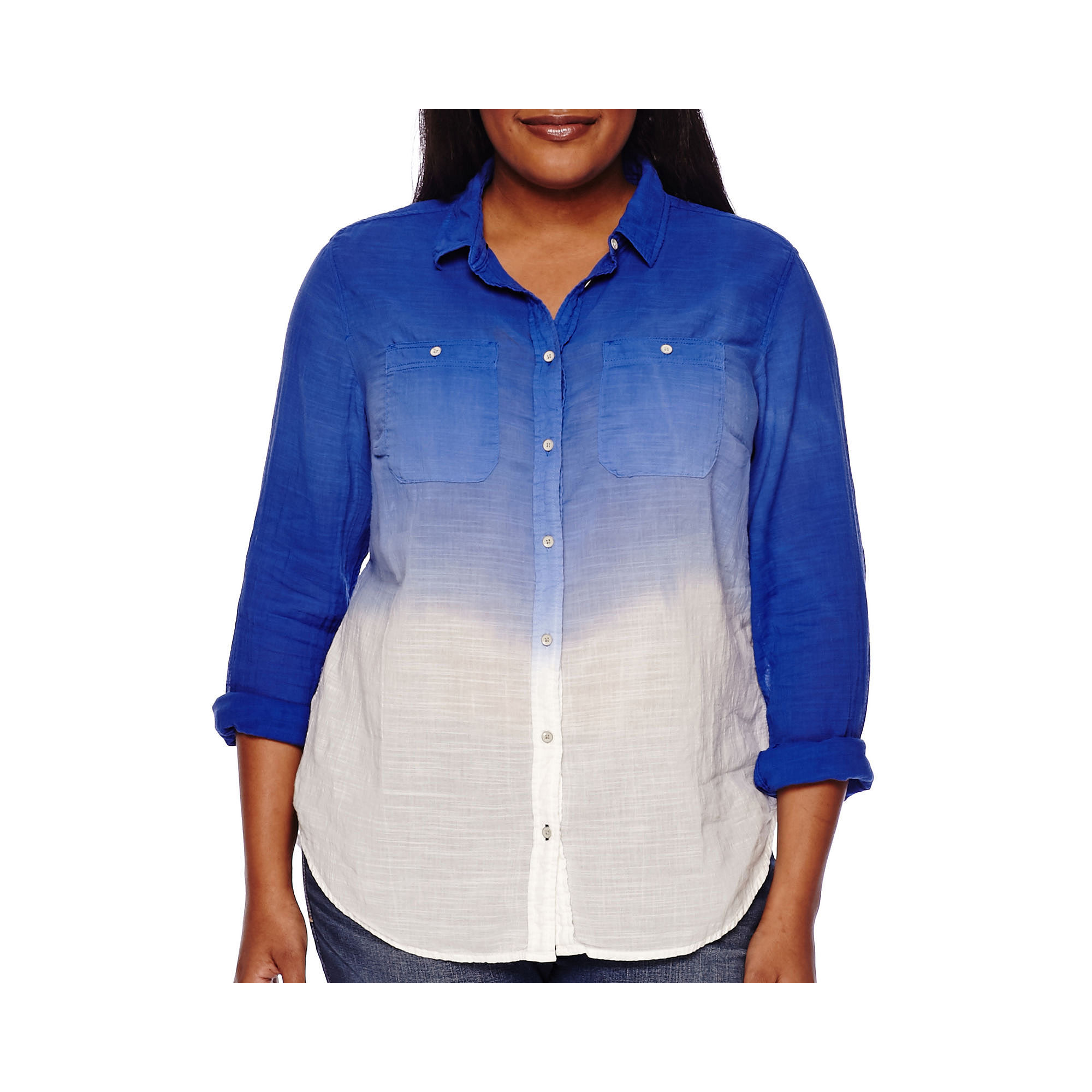 Stylus™ Long-Sleeve Dip-Dyed Gauze Shirt - Plus plus size,  plus size fashion plus size appare