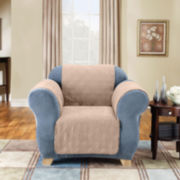 SURE FIT® Quilted Suede Chair Pet Cover