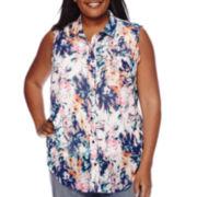 Liz Claiborne® Sleeveless Button Front Blouse - Plus
