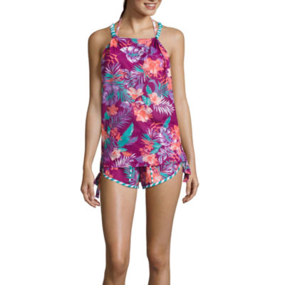 Social Angel Floral Swimsuit Cover-Up Dress-Juniors