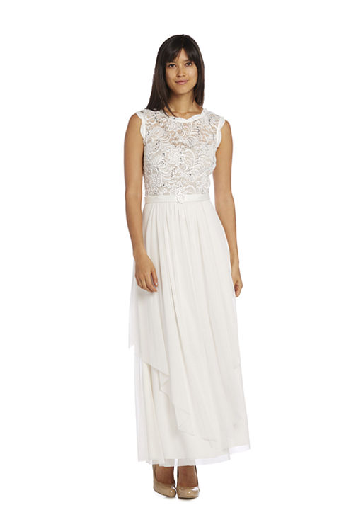 R & M Richards Hankie Panel Lace Sleeveless Belted Evening Gown-Petites