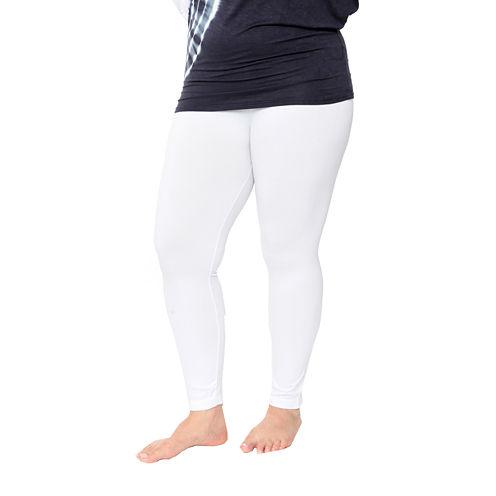 White Mark Super Stretch Solid Knit Leggings-Plus