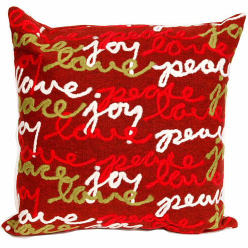 Liora Manne Visions Iii Peace Love Joy Square Outdoor Pillow