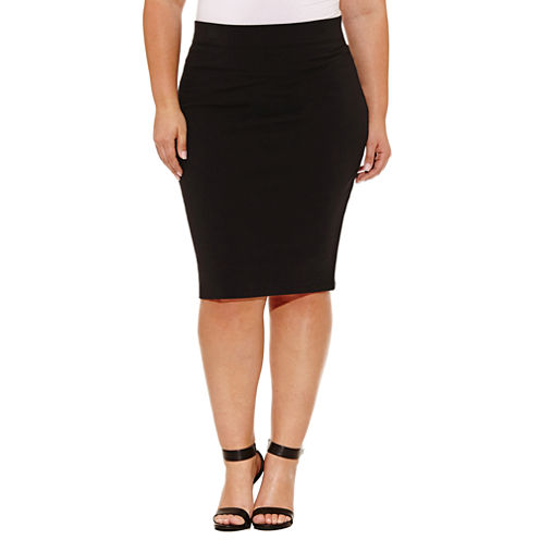 Boutique + Knit Pencil Skirt-Plus
