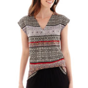 Liz Claiborne® Cap-Sleeve Scarf Print Top - Tall