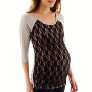 Zoomers Maternity 3/4-Sleeve Lace-Front T-Shirt - Plus
