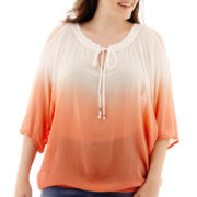 by&by 3/4-Sleeve Cold-Shoulder Dip-Dyed Peasant Top - Plus