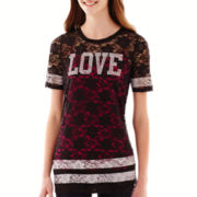 Sugar High Short-Sleeve Allover Lace T-Shirt