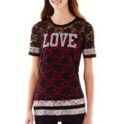Sugar High Short-Sleeve Allover Lace T-Shirt