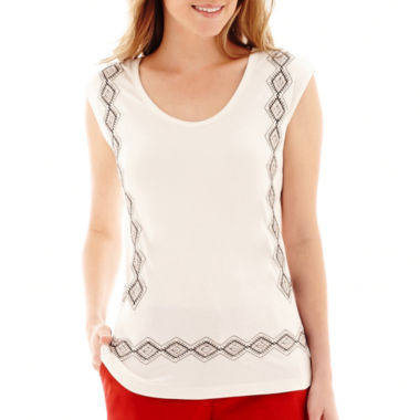 jcpenney.com | Liz Claiborne® Sleeveless V-Neck Knit Top